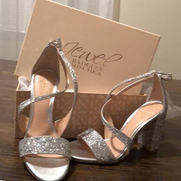 Jewel Badgley Mischka Glitter Sandal